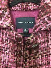 Banana Republic Women Coat 92% Wool Sz M Burgundy Pink Tones