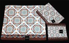 3 Kassafina Scroll Textured Waffle Bath Hand Towels Wash Cloth Brown Teal NEW