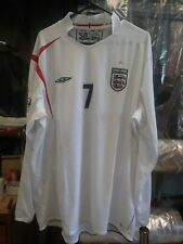 New Authentic Umbro 2006 England Beckham Long Sleeve Jersey Germany World Cup