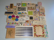 Lot of 40 Rubber Stamp Mixed Wood Mount (Box 5)