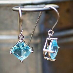 Lab Made Sky Blue Topaz Drop Earrings Sterling Silver 925 , December birthstone