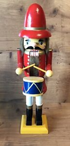 Nutcracker Drummer Red Jacket Yellow Base Vintage 20 Inches Tall