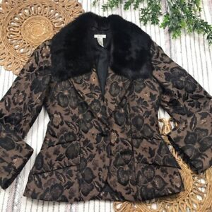 Cache Women's Size 6 Floral Brown One Button Faux Fur Collar Blazer Sport Coat
