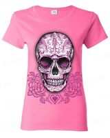 Sugar Skull Cross Pink Roses Women's T-Shirt Day of the Dead Los Muertos Shirts
