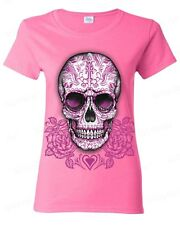 Sugar Skull pink roses Day of the Dead WOMEN T-SHIRT Mexican Gothic tee