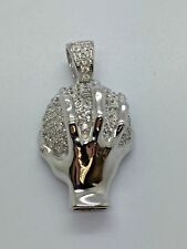 925 Solid Silver CZ Ball in Hand Pendant