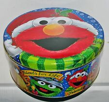 """ELMO Sesame Street Friends Christmas Cookie 3x7"""" Tin Box Container Canister #3"""