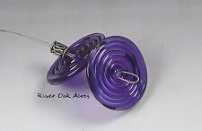 ROA Lampwork 2 Gold Purple 3 x 25 mm USA Handmade Disc Art Glass Beads SRA