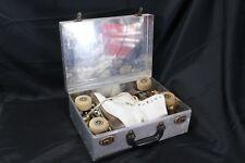 Chicago Roller Skate Co Ware Bros Wooden Wheel Skates 4 Size Metal Case 1950's