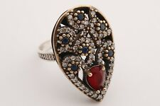 Victorian Jewelry Turkish 925 Sterling Silver Sapphire Topaz Ring Size 8.5