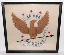 ANTIQUE EMBROIDERED IN-GOD-WE-TRUST AMERICAN EAGLE TAPESTRY Patriotic Flag