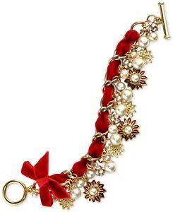 Charter Club Gold-Tone Pave & Imitation Pearl Poinsettia Velvet Ribbon Bracel...