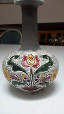 Gmundner Keramik Vase Austria J-18 Yellow Gray Green Red Tulip
