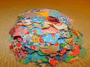 LOT of 76 Antique Vintage GRANDMAS FLOWER GARDEN QUILT BLOCKS Feedsack Fabrics