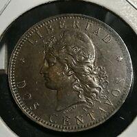 1892 ARGENTINA 2 CENTAVOS NEAR UNCIRCULATED COIN