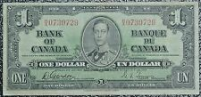 BANK OF CANADA -1937 $1 Note -Prefix H/A -RARE-Signed Gordon&Towers-Narrow Panel
