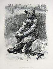 YOUNG FARMER BOY SITS & THINKS IN RAIN HAT ~ Old 1882 Art Print Etching RARE!