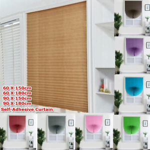 Self Adhesive Pleated Blinds Curtain Half Blackout UV Protection Window Shades