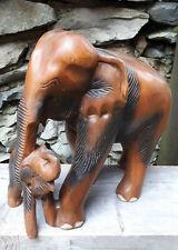 28cm Holz Elefant Elefanten Figur Skulptur Tierfigur MAMA + Baby Asien Afrika