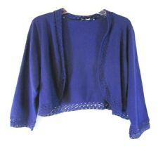 New Liz Claiborne Cardigan Shrug Sweater Crochet Trim 1X Blue A252365 Women YX23