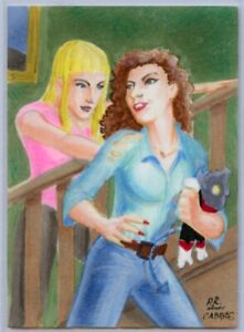 CHRIS CABBIE BRADBERRY Personal Sketch Card - ILLYANA AND KITTY PRYDE