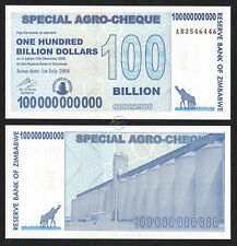 ZIMBABWE 100 Billion Dollars Special Agro-Cheque 2008 P-64 UNC Uncirculated