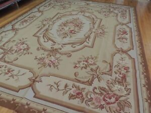 Stunning! 8x10 French Aubusson Needlepoint area rug Beige Gray Brown Pink Floral