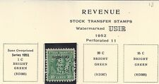 Green Stock Transfer Revenue Stamps From 1952
