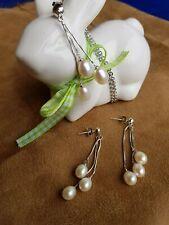 echter Süßwasser Zucht Perlen Anhänger  mit Ohrhängern in weiß, Si 925