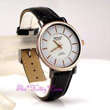Omax Slim Hematite, Rose Gold Epson Seiko Movt Black Leather Unisex Watch SC7825