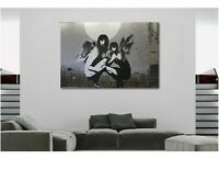 BANKSY GIRLS ANGEL AND DEMON CANVAS WALL ART