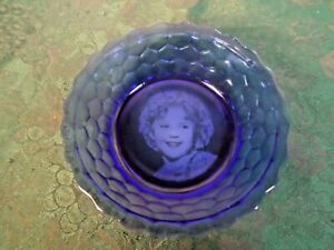 Adorable Mid-Century Shirley Temple Designed Cobalt Blue Glass Cereal Bowl