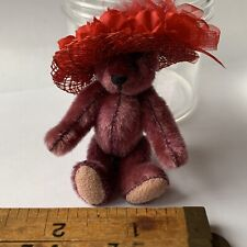 """VINTAGE 3"""" MINIATURE MOHAIR PURPLE FULLY JOINTED BROWN BEAR ALL ORIGINAL"""