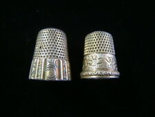 2 Vintage Sterling Silver Thimbles Engraved Nice!!