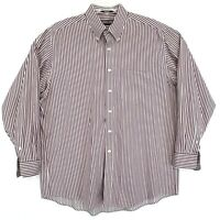 Kirkland Non Iron X-Long Staple Cotton Shirt Mens 17 34 Red Striped Button Up