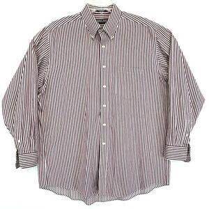 Kirkland Non Iron X-Long Staple Cotton Shirt Mens 17 34 Red Striped Button Up