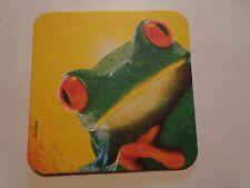 Beer Breweriana Coaster ~*~ Kronenbourg Biere de Mars ~ France ~<>~ Red Eye Frog