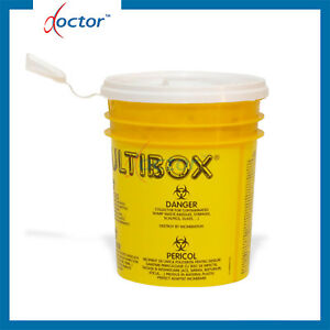 Contenitore in plastica con coperchio per aghi e taglienti capacità 1 litro