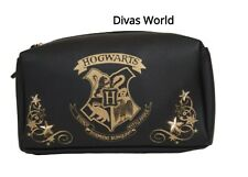 Harry Potter Cosmetic Pouch Hogwarts Black Toiletry Bag Women's Make Up Case New
