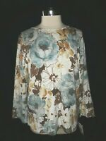 NEW ALFRED DUNNER Sz L Pullover Sweater Gray Sequin Floral Shimmer 3/4th Sleeve
