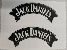 JACK DANIELS-CLEAR GLOSS BLACK AND WHITE RECTANGLE STICKERS(2-PCS 100mm x 35mm)