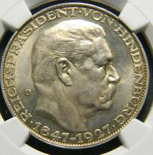 Germany 1927 Silver Hindenburg Medal NGC MS 65