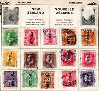 New Zealand KGV era album page with OFFICIAL overprints