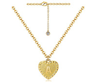Heart Initial Letter A Necklace 24K Gold Plated Alphabet Pendant Chain Necklace