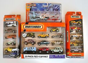 #MB122 2 older Matchbox 5 packs, 1 10 pack and 1 Hitch and Haul Off Road Theme