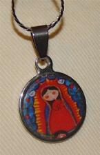 Lovely Small Stainless Blue & Red Virgencita Plis Cuidame Mucho Medal Necklace