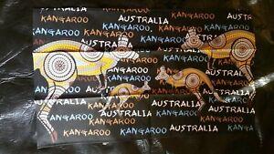 Australian Aboriginal kangaroo brown black tea towel NEW cotton travel gift idea