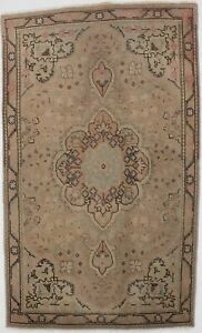 Antique Distressed Muted Beige 3X5 Wool Hand Knotted Oriental Area Rug Carpet