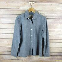BANANA REPUBLIC Women's Soft Wash Shirt Long Sleeve Button Front Blouse 4 Blue