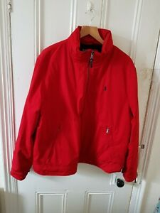 Polo Ralph Lauren XL Red Waterproof Fleece Jacket Designer Logo Warm Coat Hooded